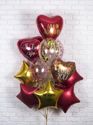 Набор гелиевых шаров «Красное золото»❤️