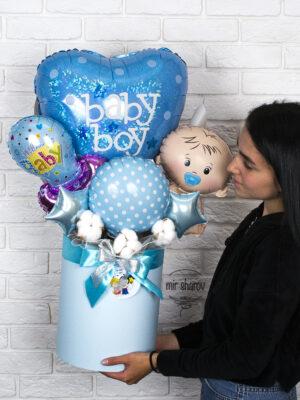 Букетиз шаров в коробке «Baby Boy»