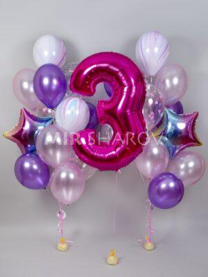 Шары на день рождения «Омбреллы и цифра»
