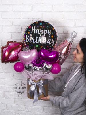 """Букет из шариков в коробке """"Happy birthday №1"""""""