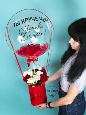Коробка роз с баблс+любая надпись в подарок