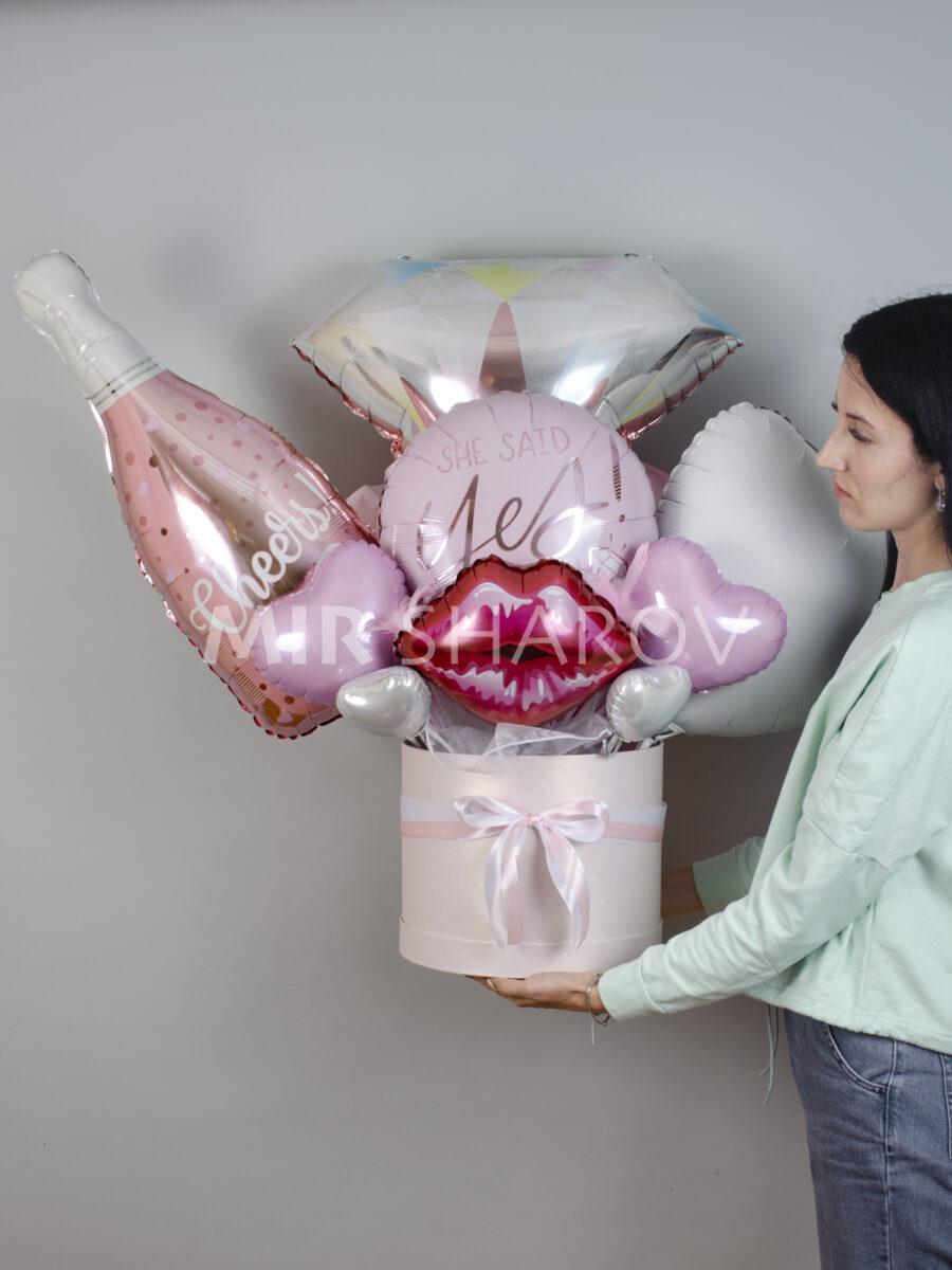 Букет из шаров в коробе на день рождения XXL«На девичник»